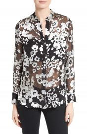 Alice   Olivia Belle Print Sheer Oversize Tunic at Nordstrom