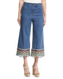 Alice   Olivia Beta Embroidered Pom-Pom Hem Cropped Jeans  Multi at Neiman Marcus