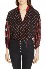Alice   Olivia Blouson Sleeve Mixed Print Top at Nordstrom