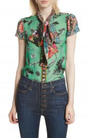 Alice   Olivia Bow Neck Mixed Print Blouse at Nordstrom