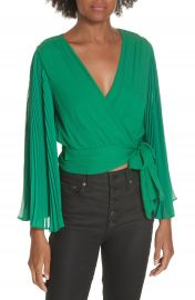 Alice   Olivia Bray Pleat Sleeve Wrap Top at Nordstrom