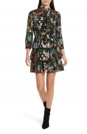 Alice   Olivia Breann Tie Neck Tiered Dress at Nordstrom
