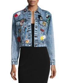 Alice   Olivia Chloe Embellished Cropped Denim Jacket at Neiman Marcus