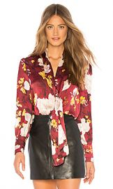 Alice   Olivia Crogan Blouse in Water Lotus Bordeaux from Revolve com at Revolve