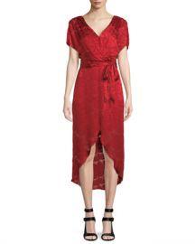 Alice   Olivia Darva Gathered Mock Wrap Midi Dress at Neiman Marcus