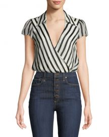 Alice   Olivia Dayer Collared Short-Sleeve Wrap Top   Neiman Marcus at Neiman Marcus