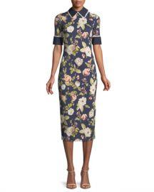 Alice   Olivia Delora Collared Floral-Print Sheath Dress at Neiman Marcus