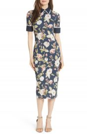 Alice   Olivia Delora Fittted Floral Dress at Nordstrom