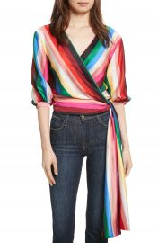 Alice   Olivia Dyanna Wrap Front Blouson Top at Nordstrom