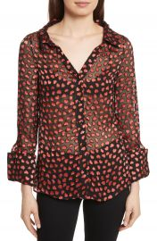 Alice   Olivia Emmerson Burnout Heart Blouse at Nordstrom