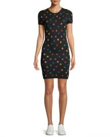 Alice   Olivia Hayden Short-Sleeve Fitted Star Jacquard Dress at Neiman Marcus