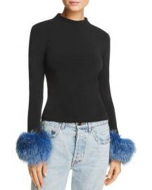 Alice   Olivia Haylen Fox Fur-Cuff Top   Bloomingdale  39 s at Bloomingdales