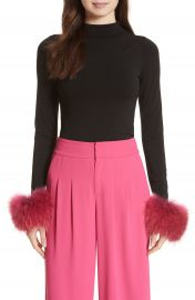 Alice   Olivia Haylen Genuine Fox Fur Cuff Top at Nordstrom