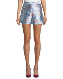 Alice   Olivia Heath High-Waist Bird-Print Satin Shorts at Neiman Marcus
