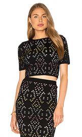 Alice   Olivia Ines Crop Top in Black  amp  Multi from Revolve com at Revolve
