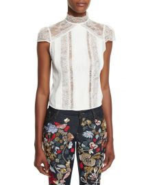 Alice   Olivia Isadora Mock-Neck Lace Top at Neiman Marcus