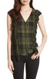 Alice   Olivia Janet Side Ruffle Blouse at Nordstrom