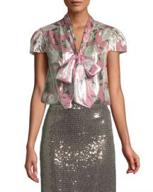 Alice   Olivia Jeannie Cap-Sleeve Floral Blouse at Neiman Marcus