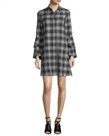 Alice   Olivia Jem Button-Front Long-Sleeve Plaid Shirtdress   Neiman at Neiman Marcus