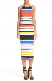 Alice   Olivia Jenner Stripe Knit Midi Dress at Nordstrom