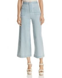 Alice   Olivia Johnny Front Patch Pocket Cropped Wide-Leg Jeans in Bleached Indigo at Bloomingdales