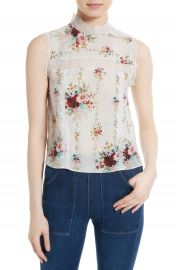 Alice   Olivia Jonie Lace Trim Floral Silk Blouse at Nordstrom