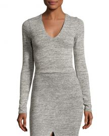 Alice   Olivia Jori V-Neck Long-Sleeve Crop Top  Gray at Neiman Marcus