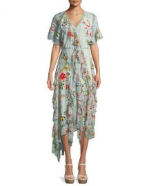 Alice   Olivia Kadence Short-Sleeve Floral-Print Lace Godet Dress w at Neiman Marcus