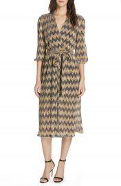 Alice   Olivia Katina Metallic Stripe Midi Dress at Nordstrom