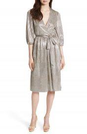 Alice   Olivia Katina Metallic Wrap Dress at Nordstrom