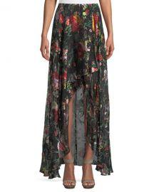 Alice   Olivia Kirstie Cascade Floral-Print Overlap Skirt   Neiman Marcus at Neiman Marcus