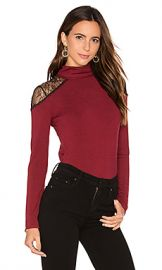 Alice   Olivia Krystalle Lace Shoulder Top in Bordeaux  amp  Black from Revolve com at Revolve