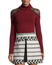 Alice   Olivia Krystalle Lace-Shoulder Turtleneck Top at Neiman Marcus