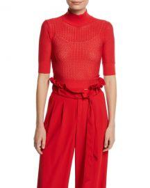 Alice   Olivia Lanie Pointelle High-Neck Short-Sleeve Pullover at Neiman Marcus
