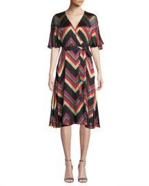 Alice   Olivia Lexa Chevron Stripe Midi Dress at Neiman Marcus
