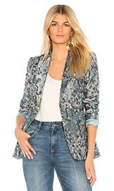 Alice   Olivia Macey Blazer in Blue Fog  amp  Multi from Revolve com at Revolve