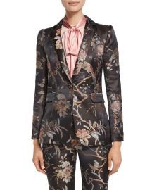 Alice   Olivia Macey Floral-Print Single-Button Blazer  Burgundy at Neiman Marcus