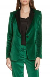 Alice   Olivia Macey Notch Lapel Fitted Velvet Blazer at Nordstrom