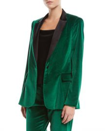 Alice   Olivia Macey One-Button Fitted Velvet Tuxedo Blazer at Neiman Marcus