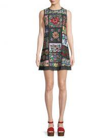 Alice   Olivia Marcelina Sleeveless Embroidered Tunic Dress at Neiman Marcus
