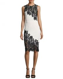 Alice   Olivia Margy Sleeveless Fitted Dress with Lace Guipure at Neiman Marcus
