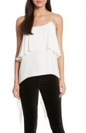 Alice   Olivia Maribel Asymmetrical Drape Silk Camisole at Nordstrom