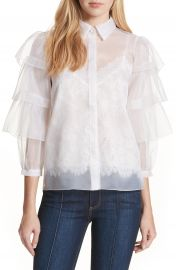 Alice   Olivia Mary Alice Tiered Sleeve Silk Blouse at Nordstrom