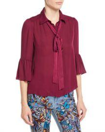 Alice   Olivia Maxima Ruffle-Sleeve Button-Front Silk Blouse at Neiman Marcus