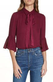 Alice   Olivia Maxima Ruffle Sleeve Georgette Blouse at Nordstrom