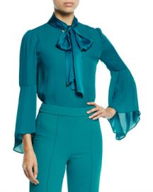 Alice   Olivia Meredith Slit-Sleeve Tie-Neck Top at Neiman Marcus