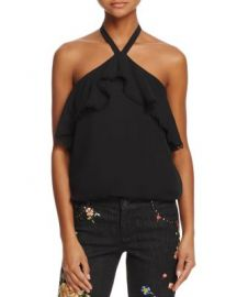 Alice   Olivia Monet Ruffled Silk Halter Top at Bloomingdales