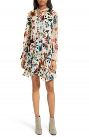 Alice   Olivia Moran Tiered Floral A-Line Dress at Nordstrom