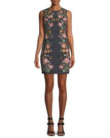 Alice   Olivia Nat Embroidered Cotton-Stretch Mini Cocktail Dress at Neiman Marcus