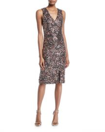 Alice   Olivia Natalie Embellished V-Neck Midi Dress w  Slit at Neiman Marcus